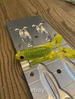 CNC Aluminum Injection Soft Plastic Bait Mold 4.25in Frog Lure 2 Cavity USA Made