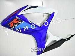 For GSXR600/750 06-07 ABS Injection Mold Bodywork Fairing Kit Plastic Blue White