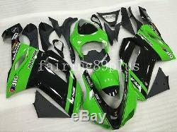 Green Black ABS Plastic Injection Mold Fairing Kit Fit for ZX6R 636 2007 2008
