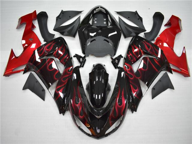 Plastic Abs Red Black Flame Injection Mold Fairing Fit For Zx-10r 2006 2007 L08