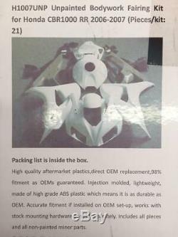 Unpainted Injection Mold Plastics Fairing Kit for HONDA 2006-2007 CBR1000RR